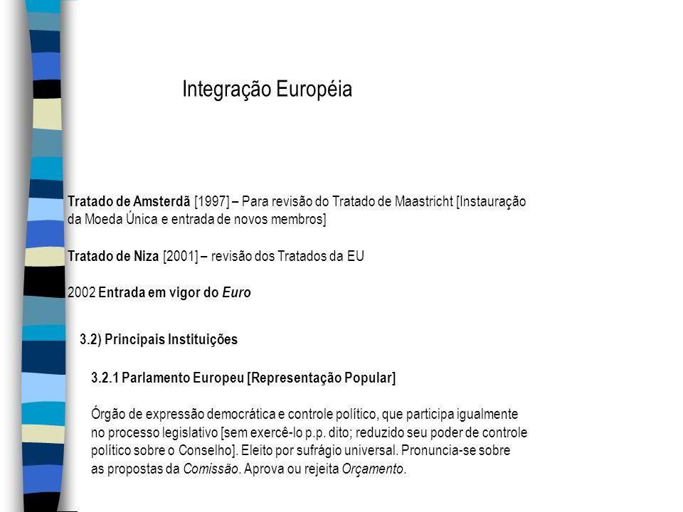 Integração Européia Tratado de Amsterdã [1997] – Para revisão do Tratado de Maastricht [Instauração.